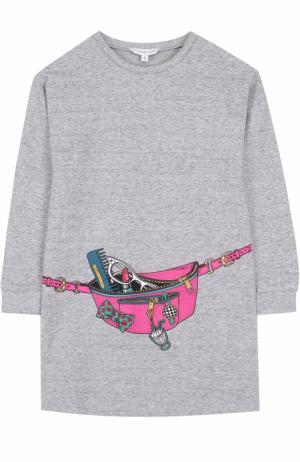 Трикотажное мини-платье с принтом Marc Jacobs. Цвет: серый