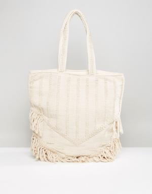 Raga Пляжная сумка-тоут с бахромой Toes In Sand. Цвет: кремовый