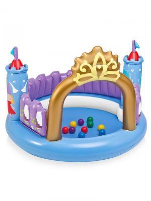 Игровой центр Замок Принцессы 130х91см с 10 мячами, от 3-6лет Intex. Цвет: синий, фиолетовый