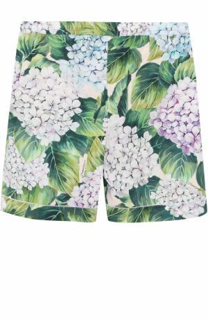 Хлопковые мини-шорты с цветочным принтом Dolce & Gabbana. Цвет: зеленый