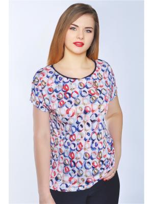 Блузка RISE. Цвет: белый,темно-синий,красный