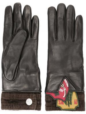 Перчатки с заплатками Dsquared2. Цвет: чёрный