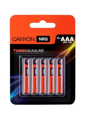Батарейки, Canyon NRG alkaline battery AAA, 10pcs/pack.. Цвет: черный