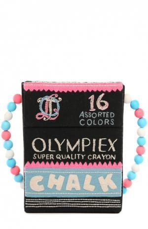 Клатч в форме упаковки мелков с вышивкой Olympia Le-Tan. Цвет: черный