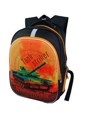 Ранец ученический Stelz. Цвет: черный, зеленый, светло-оранжевый