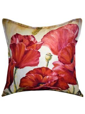 Подушка декоративная, принт МАКИ Dorothy's Нome. Цвет: красный, зеленый
