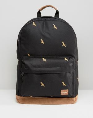 Spiral Черный рюкзак с птицами. Цвет: черный