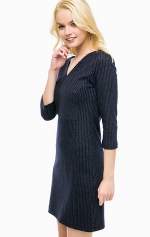 Шерстяное платье в полоску MORE &. Цвет: синий