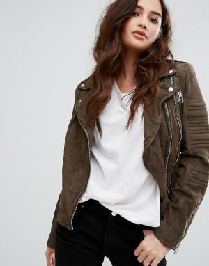 Goosecraft Замшевая байкерская куртка. Цвет: бежевый