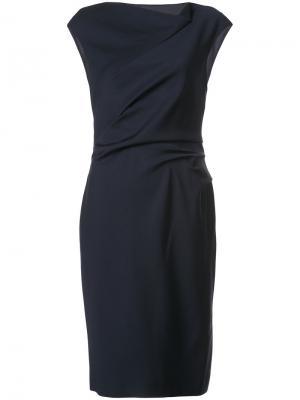 Платье-футляр с драпировками Paule Ka. Цвет: синий