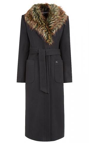 Утепленное пальто с меховым воротом Элема