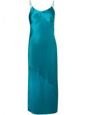 Платье на бретельках Bias Fleur Du Mal. Цвет: синий