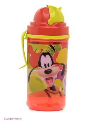 Фляга с соломинкой и держателем Микки Маус Stor. Цвет: темно-красный, салатовый, черный