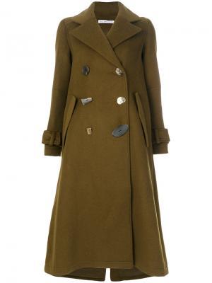 Двубортное пальто мешковатого кроя Heather Rejina Pyo. Цвет: зелёный