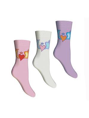 Носки, 3 пары Master Socks. Цвет: розовый, белый, сиреневый