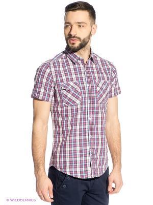Рубашка Oodji. Цвет: красный, белый, синий, антрацитовый