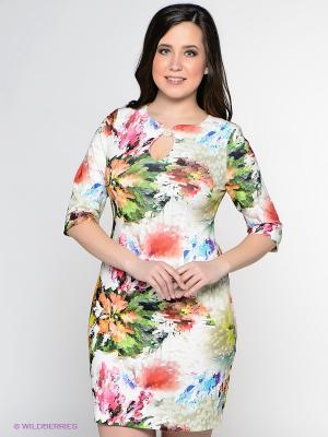 Платье Amelia Lux. Цвет: зеленый, коралловый