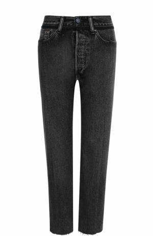 Укороченные джинсы с потертостями Vetements. Цвет: черный