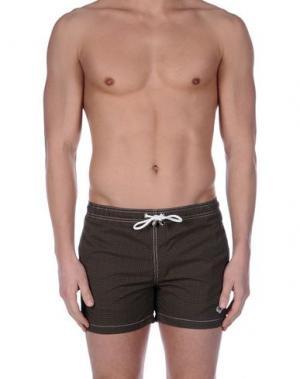 Пляжные брюки и шорты LUIGI BORRELLI NAPOLI. Цвет: темно-коричневый