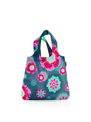 Сумка Mini maxi shopper peony grey Reisenthel. Цвет: серый, голубой, красный