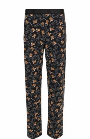Хлопковые домашние брюки с принтом Moschino. Цвет: черный