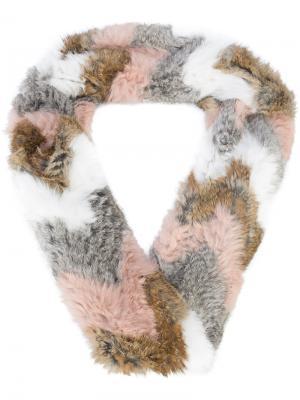 Меховой шарф с узором-шеврон Jocelyn. Цвет: телесный
