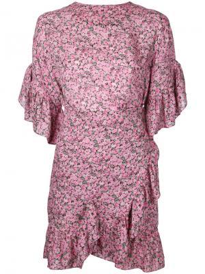 Платье с рисунком и оборками Goen.J. Цвет: розовый и фиолетовый