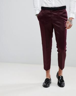 ASOS Бордовые облегающие брюки. Цвет: красный