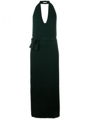 Длинное платье с V-образным вырезом Stefano Mortari. Цвет: зелёный
