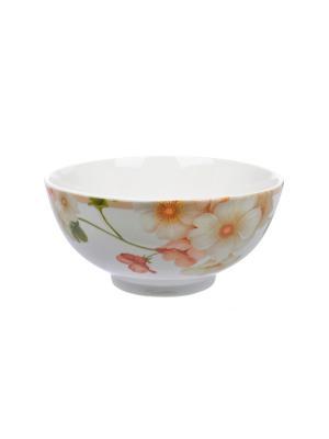 Салатница Мальва Elff Ceramics. Цвет: белый, оранжевый