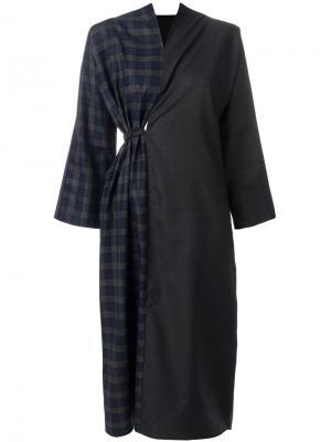 Платье с контрастными панелями Daniela Gregis. Цвет: серый