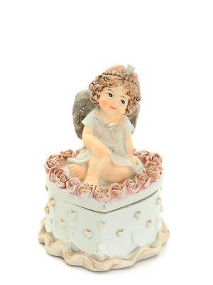 Шкатулка-сердце Ангелочек Elan Gallery. Цвет: серый, коричневый, бежевый