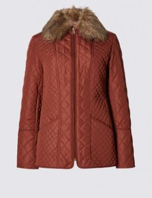Стёганая утеплённая куртка Stormwear™ с искусственным воротником Classic. Цвет: орех