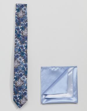 Gianni Feraud Галстук с принтом тигров и однотонный платок для нагрудного кармана Gi. Цвет: темно-синий