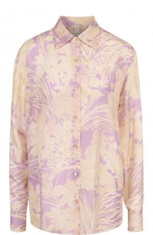 Шелковая блуза свободного кроя с принтом Dries Van Noten. Цвет: сиреневый