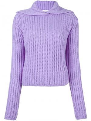 Пуловер в рубчик Carven. Цвет: розовый и фиолетовый