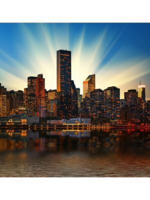 Картина Манхеттен солнце Ecoramka. Цвет: синий, коричневый, светло-коричневый