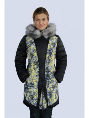 Пальто для девочки Ягуар Пралеска. Цвет: черный