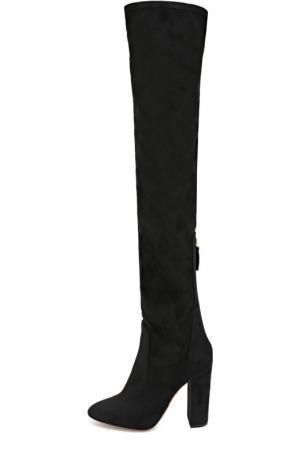 Текстильные ботфорты Thigh на устойчивом каблуке Aquazzura. Цвет: черный