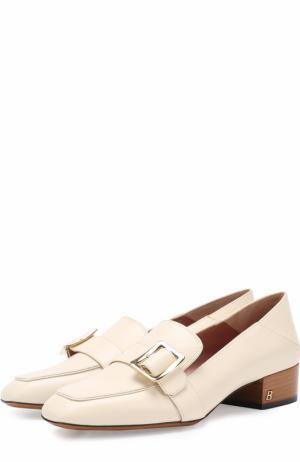 Кожаные туфли с пряжкой на устойчивом каблуке Bally. Цвет: бежевый