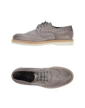 Обувь на шнурках SANTONI. Цвет: голубиный серый