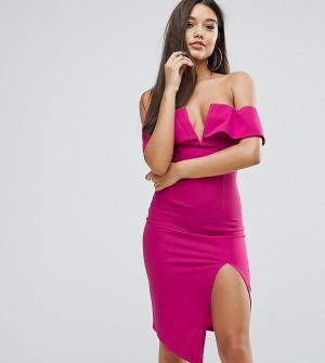 Ginger Fizz Платье миди с открытыми плечами, глубоким вырезом и разрезом Fi. Цвет: розовый