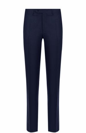 Шерстяные брюки прямого кроя Canali. Цвет: темно-синий