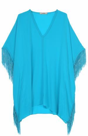 Шелковая туника асимметричного кроя с бахромой Lazul. Цвет: голубой