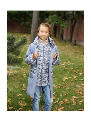Пальто с жилетом MARIELA. Цвет: серо-голубой