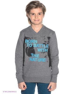 Пуловер S.OLIVER. Цвет: серый меланж, черный, синий
