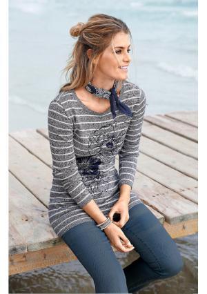 Удлиненный пуловер BOYSENS BOYSEN'S. Цвет: синий/меланжевый