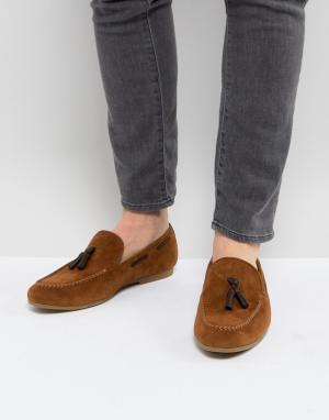 Burton Menswear Светло-коричневые лоферы с кисточками. Цвет: рыжий