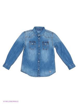 Рубашка GUESS. Цвет: голубой