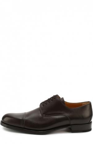Классические кожаные дерби A. Testoni. Цвет: темно-коричневый